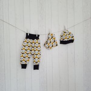 Set Pumphose, Dreieckstuch und Bündchenmütze Pandabären