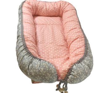 Babynestchen XL, Babycocoon, Stubenwagen Wiege, Rosa, Grau, Blümchenmuster, mit Schutzeinlage