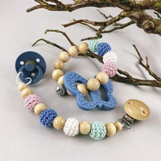 Set Schnullerkette und Greifling, blauer Schmetterling
