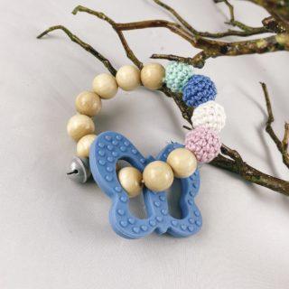 Set Schnullerkette und Greifling, blauer Schmetterling 2